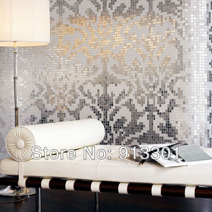 Mirror Wall Tiles glass tile sheets plating pattern 3/5 inch mosaic tiles floor