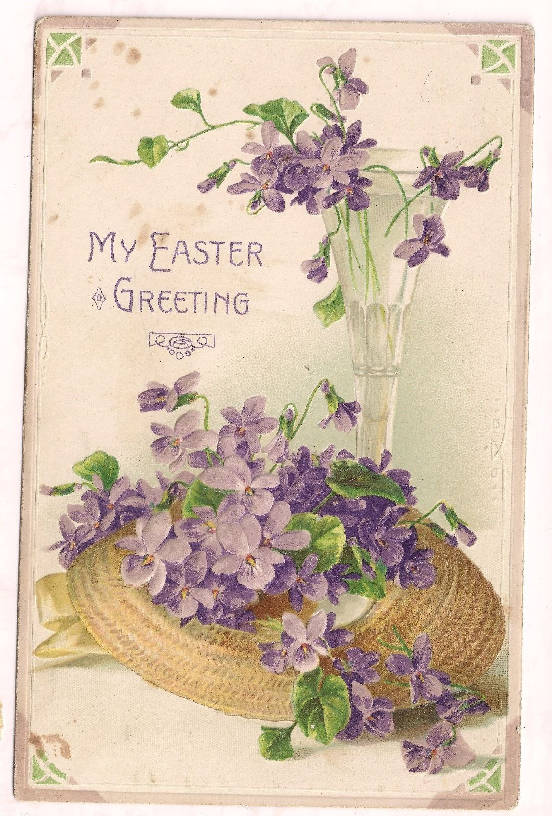1900s Antique Easter Postcard Divided Back C 1907 1915 Embossed