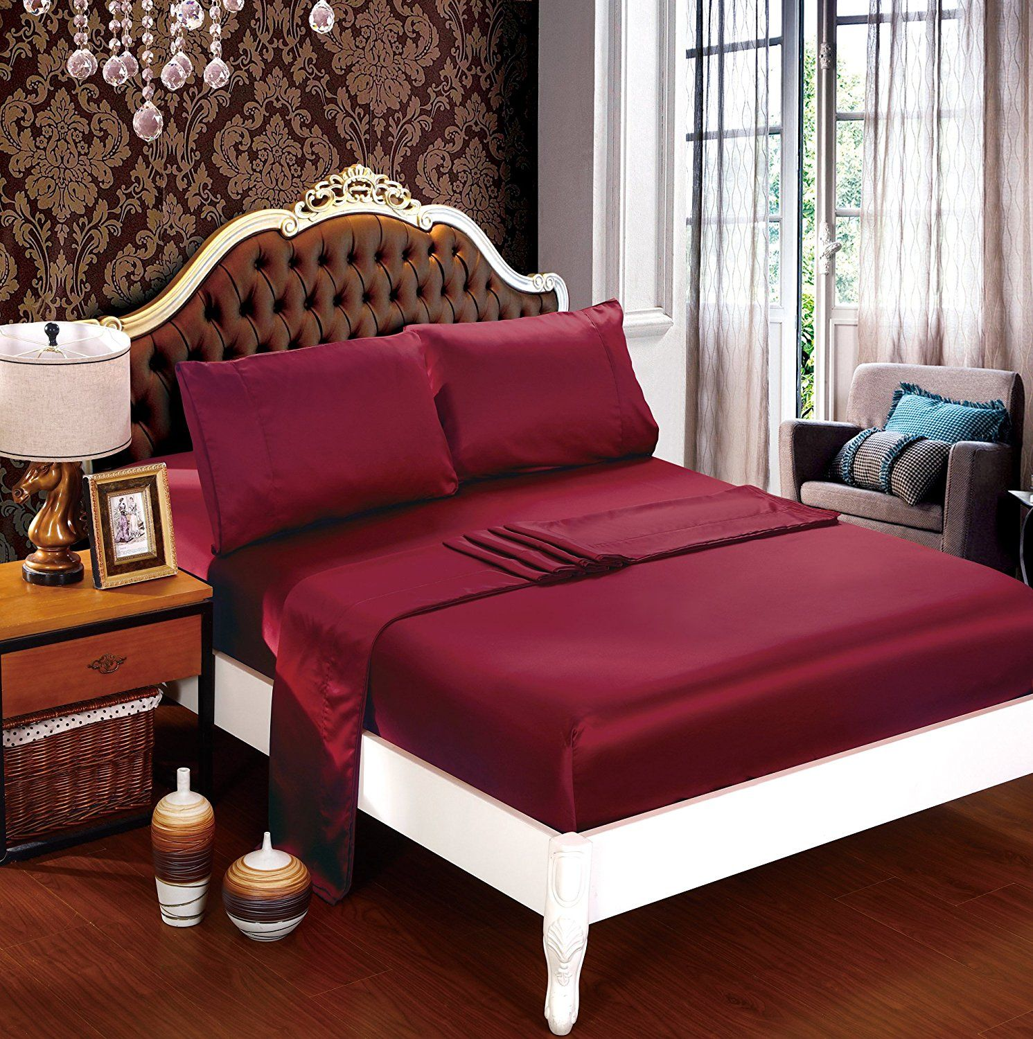 4db911d888cd DelbouTree Silky Soft Solid Matte-Satin Bed Sheet Sets Shiny-Free,Deep  Pocket Queen 4 Pieces, Burgundy