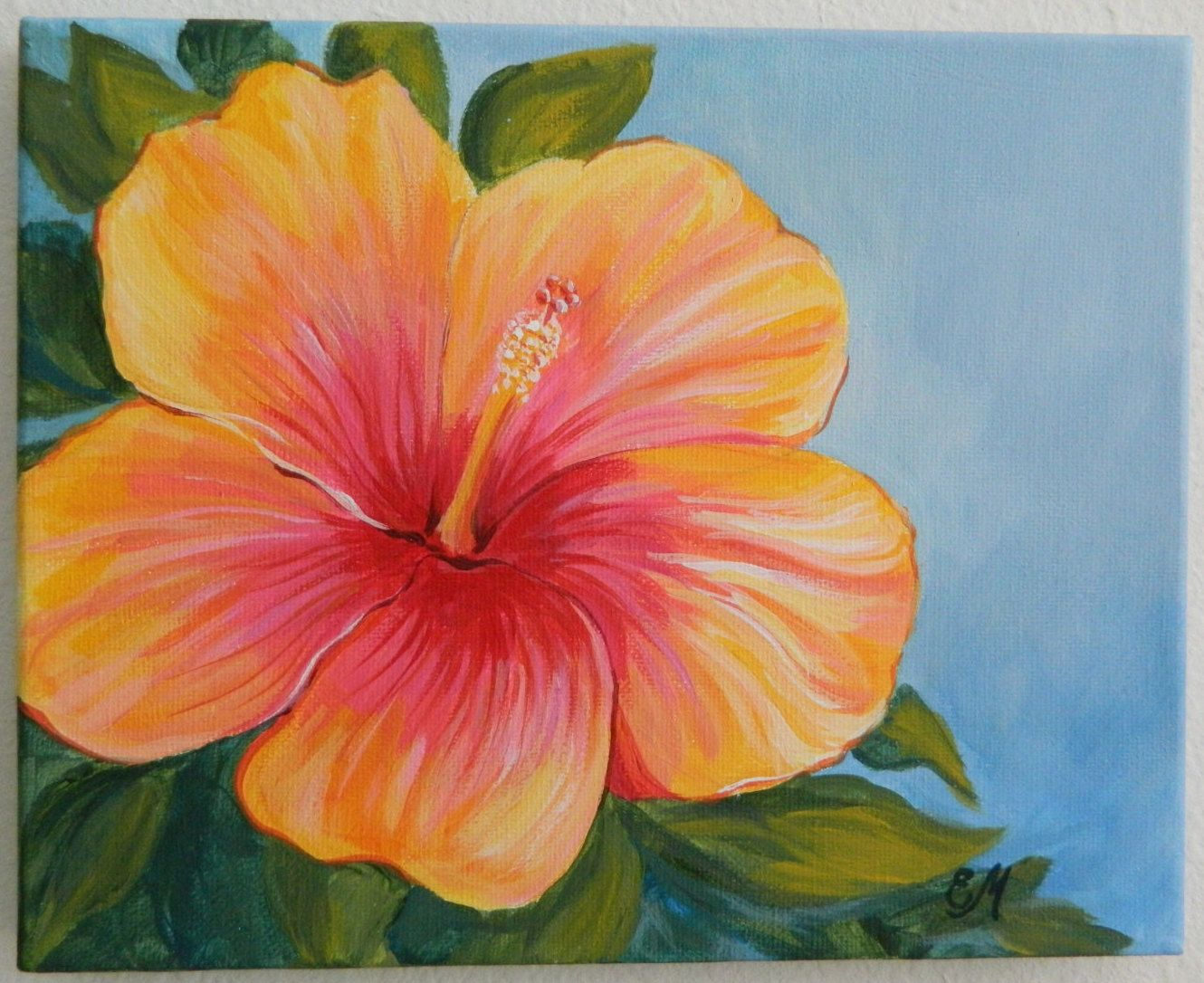 yellow and red hibiscus flower on canvas original painting flower painting Ye