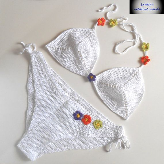 Crochet set bikini top bikini bianco & di Lenkascreativehands