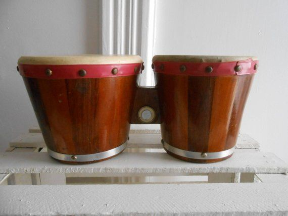 Vintage Bongo Drums Good Used Condition Double Style Wood Percussion Bo
