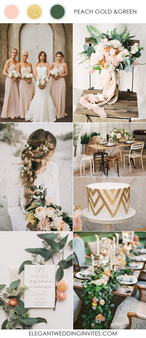2017 Trending Rustic Gold Peach And Green Wedding Colors