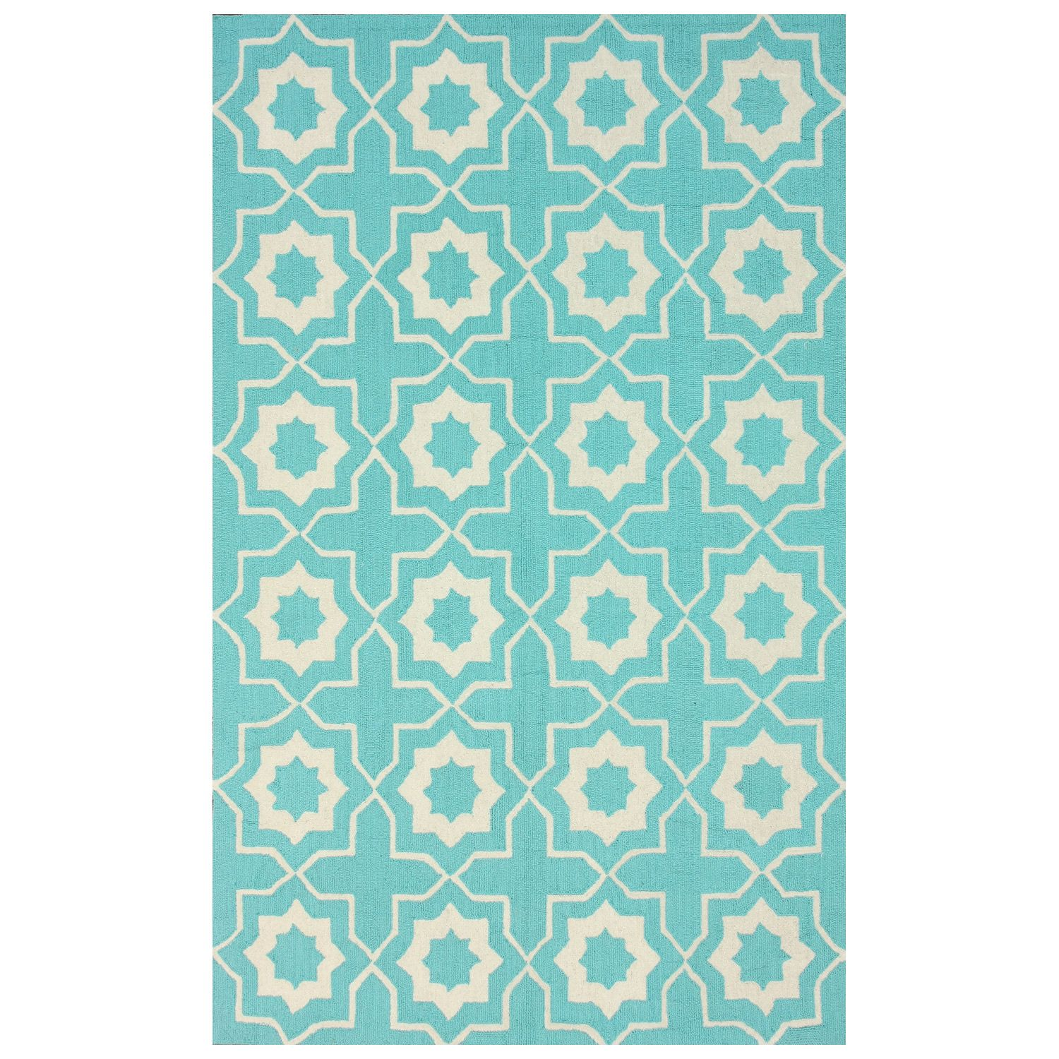 Amy Light Turquoise Wool Hand Hooked Rug