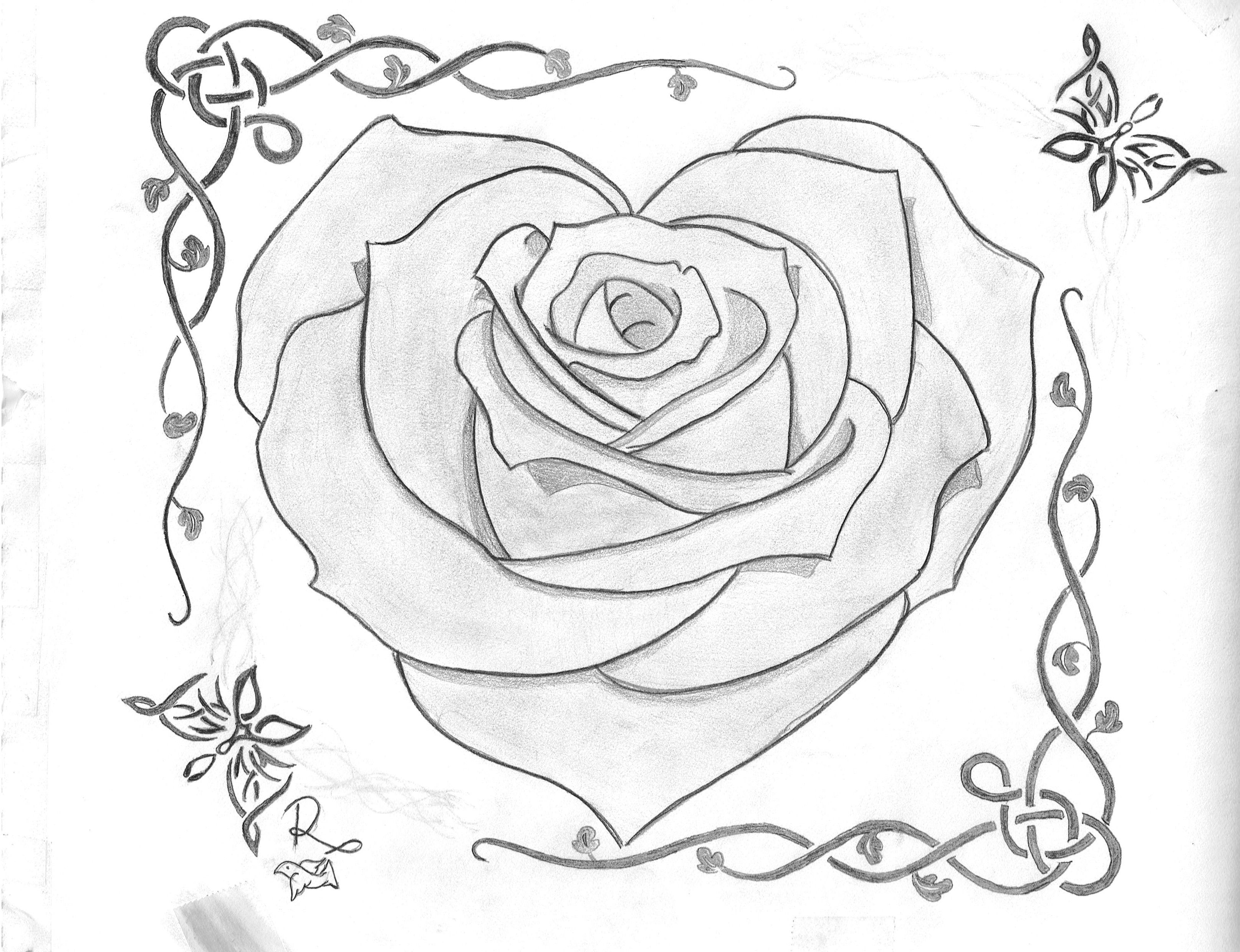 Rose Heart B&w Sketch How To Draw