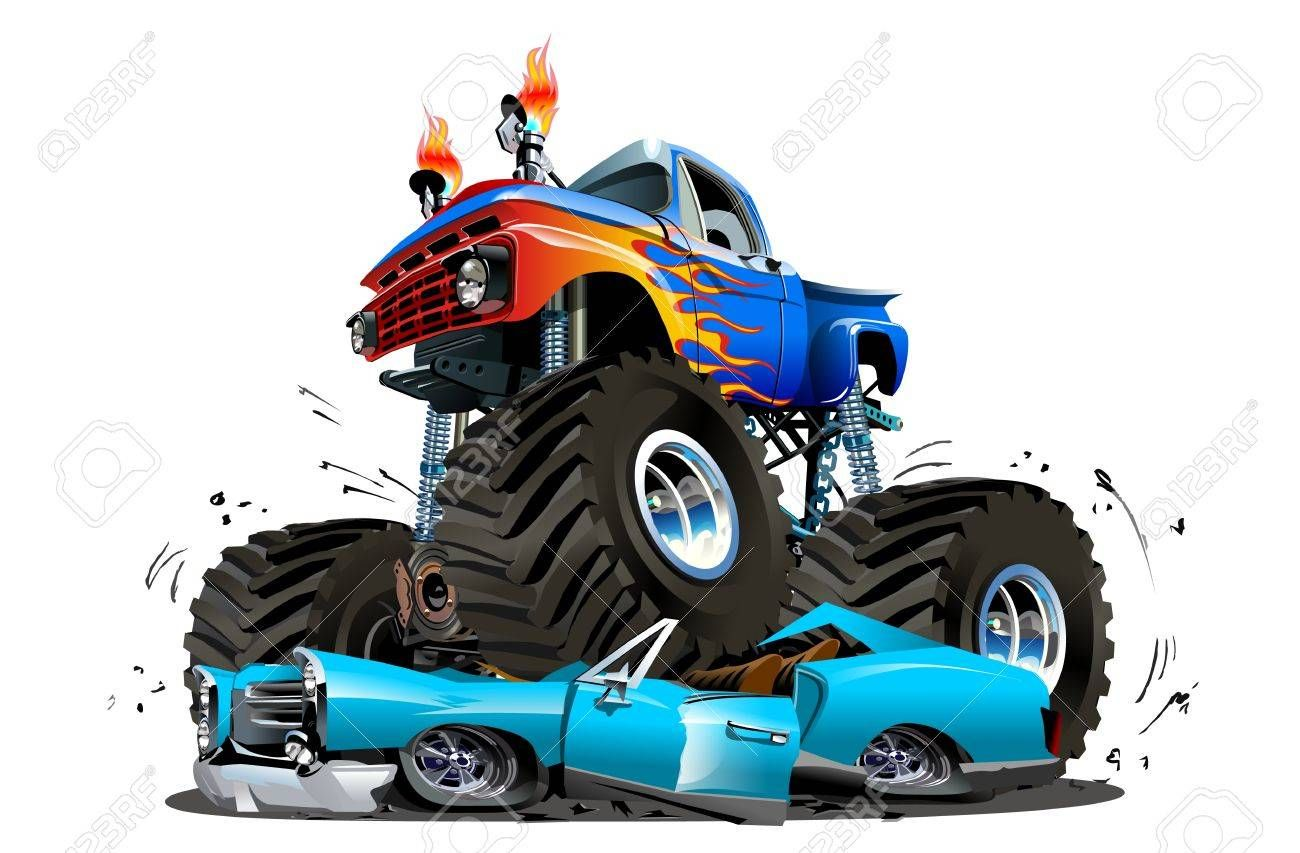 Vector Cartoon Monster Truck Available Eps 10 Separated By Groups