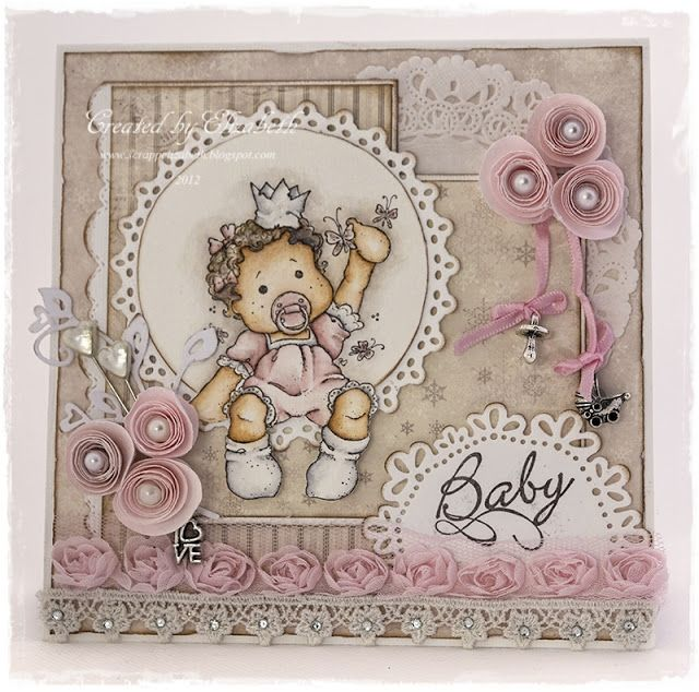 """Baby Card by LLC DT Member Elizabeth Elton Hagen, using papers from Pion Design's """"Silent Night"""" collection and a Magnolia image."""