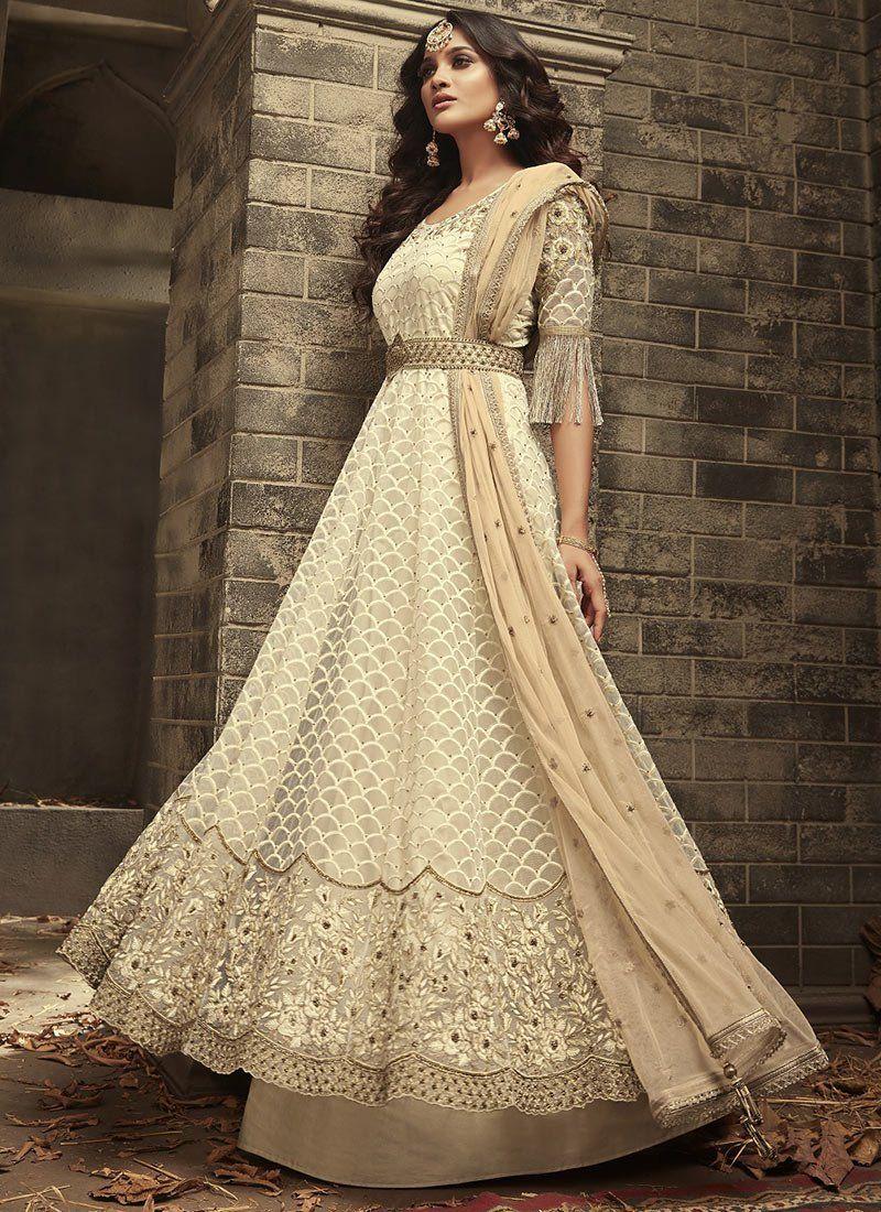49b9c77261 Buy Off White Mohini Net Designer Anarkali Suit Online - Best Price–Liinara
