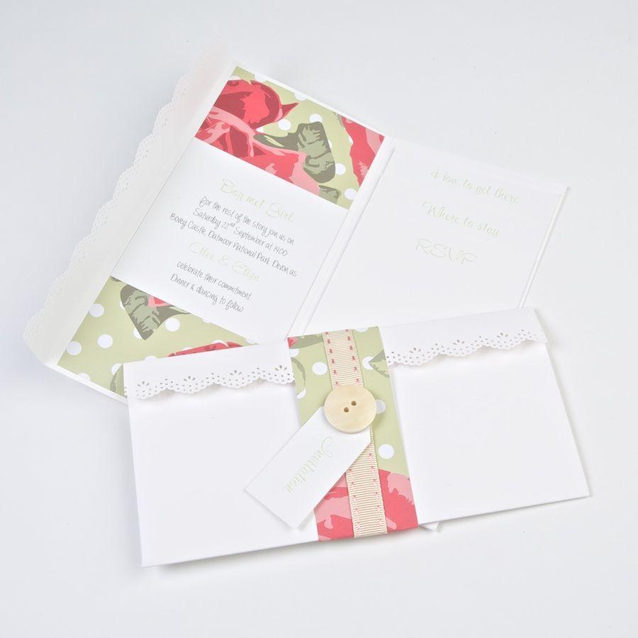 Handmade wedding invites from www.pocketfoldinvites.co.uk Button up ...