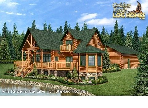 Log Homes and Log Home Floor Plans Cabins by Golden Eagle Log Homes   If  only the master bedroom was up stairs. Modern style house individual Lithuania  raw wood factory Eurodita