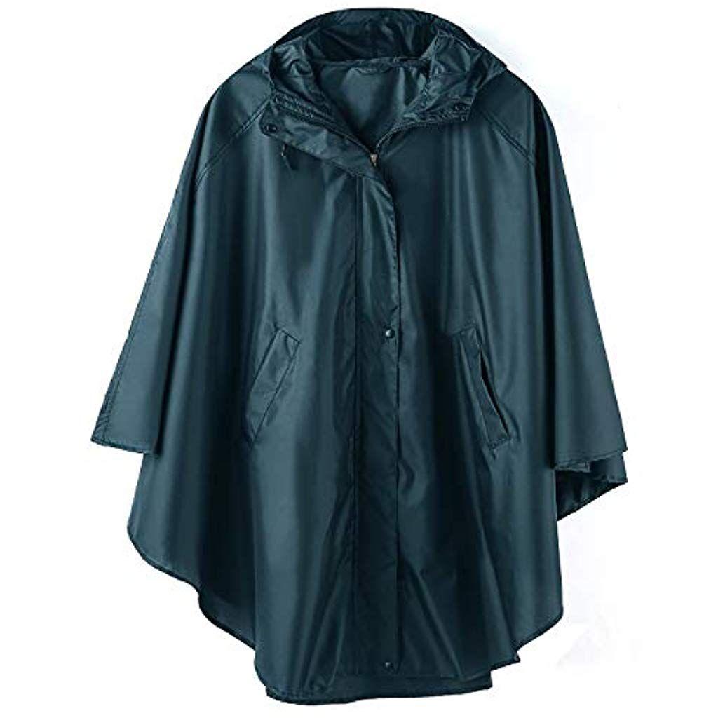 Jacke für Summer wasserdicht Poncho Erwachsene Freien im Mae Regen Mantel mit Kapuze Reißverschluss mit 54A3jLRq