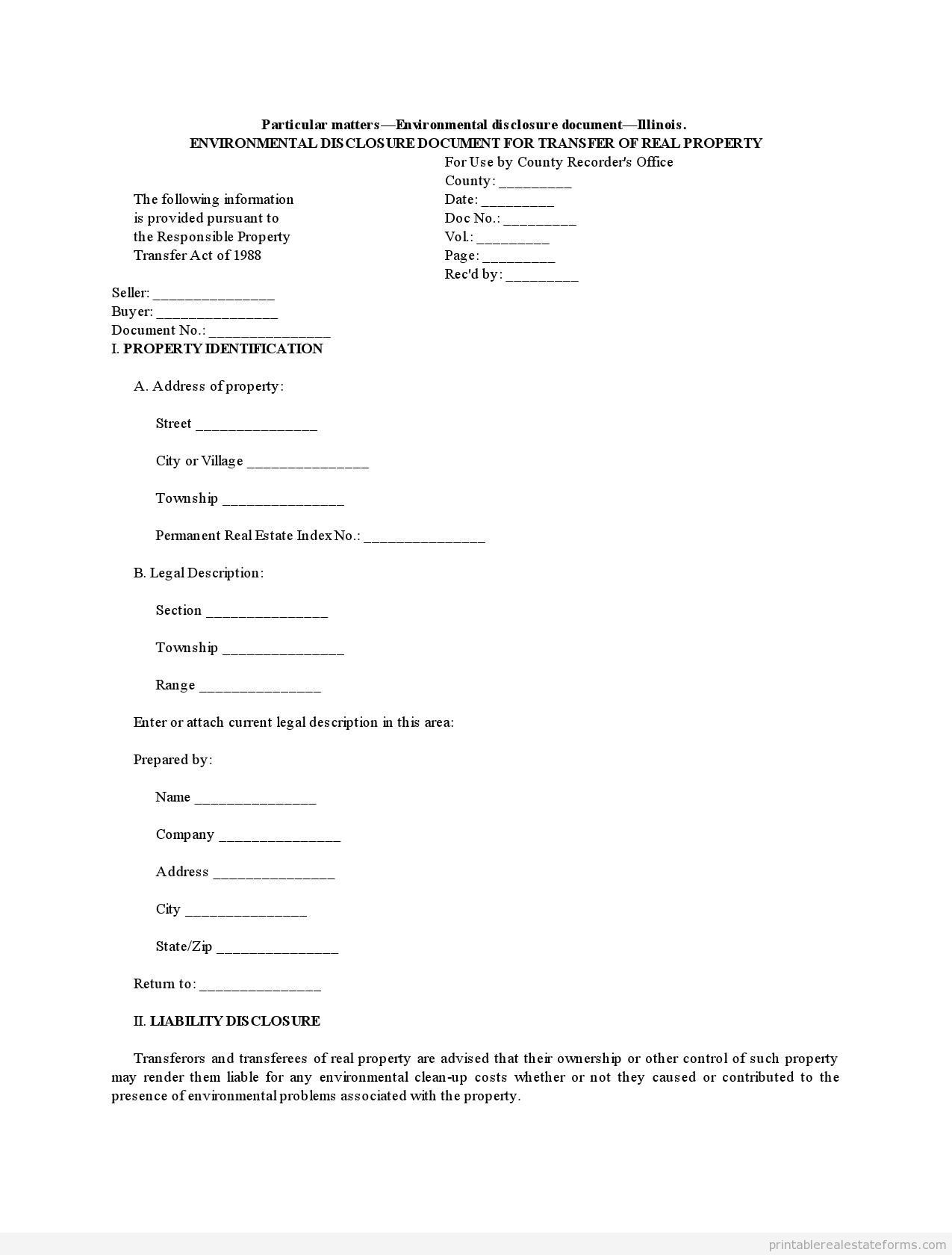 Printable Illinois Environmental Disclosure Document For Transfer