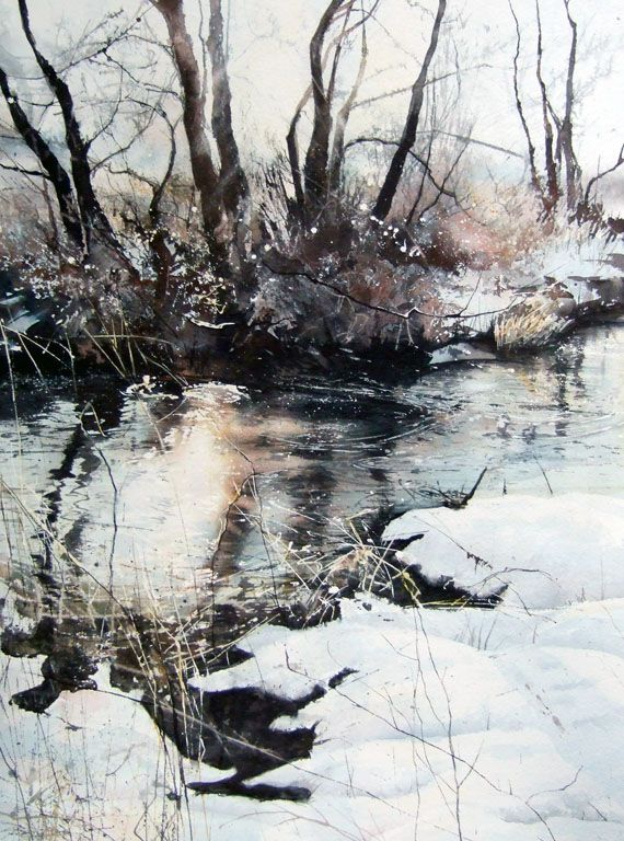 Deb Walker Winter Trees Water Reflections Icy Snow Beauty