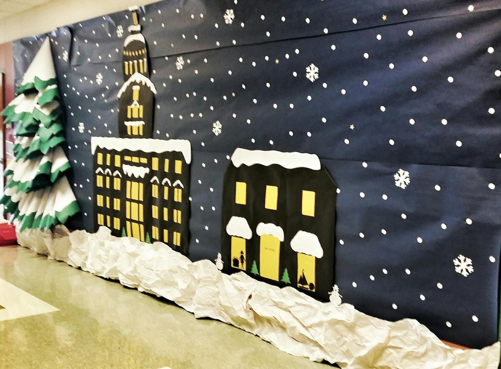 Our 1st grade team does an annual polar express themed How to decorate your hallway for christmas