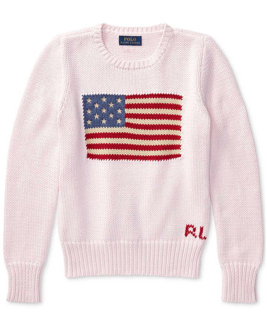 Ralph Lauren American Flag Knit Cotton Sweater, Big Girls (7-16 ...