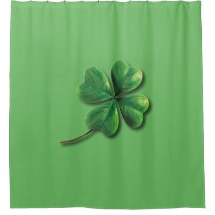 Modern Green Irish Shamrock Shower Curtain - st patricks day gifts ...