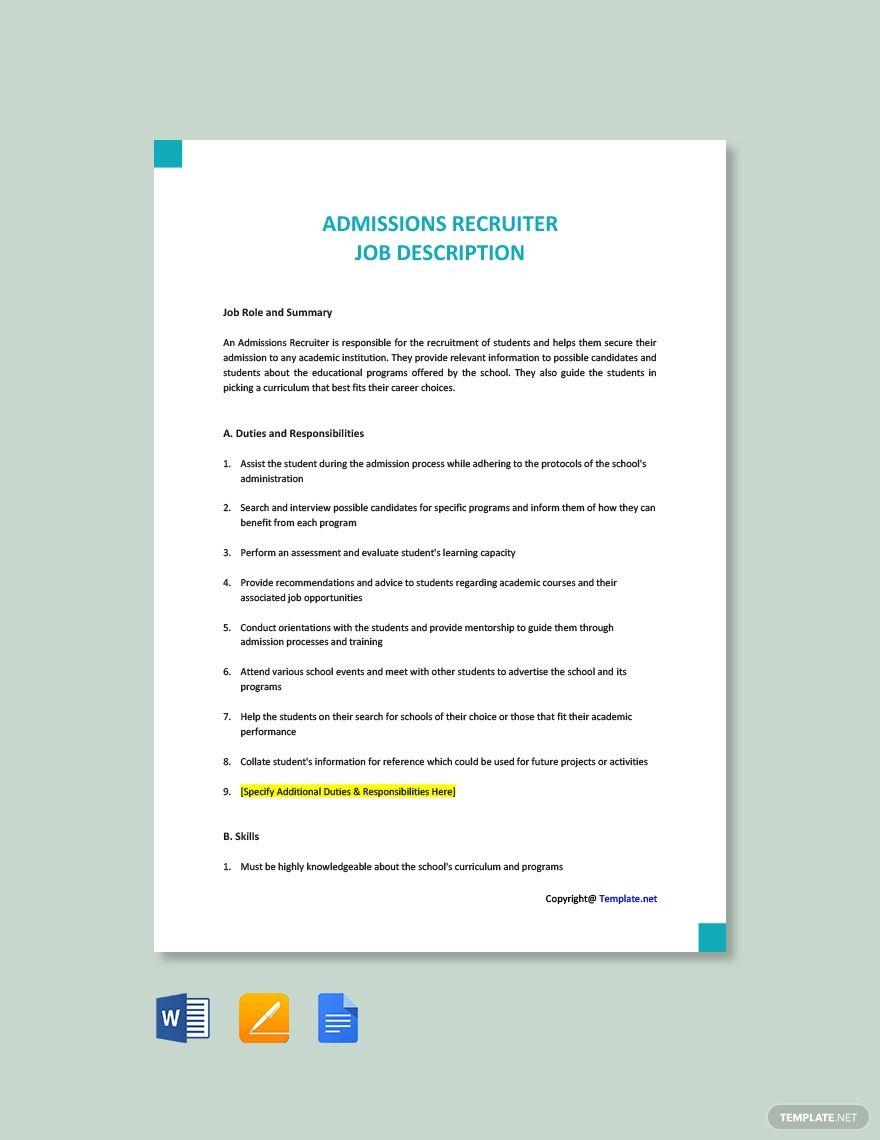 Free Admissions Recruiter Job Description Template in 2020