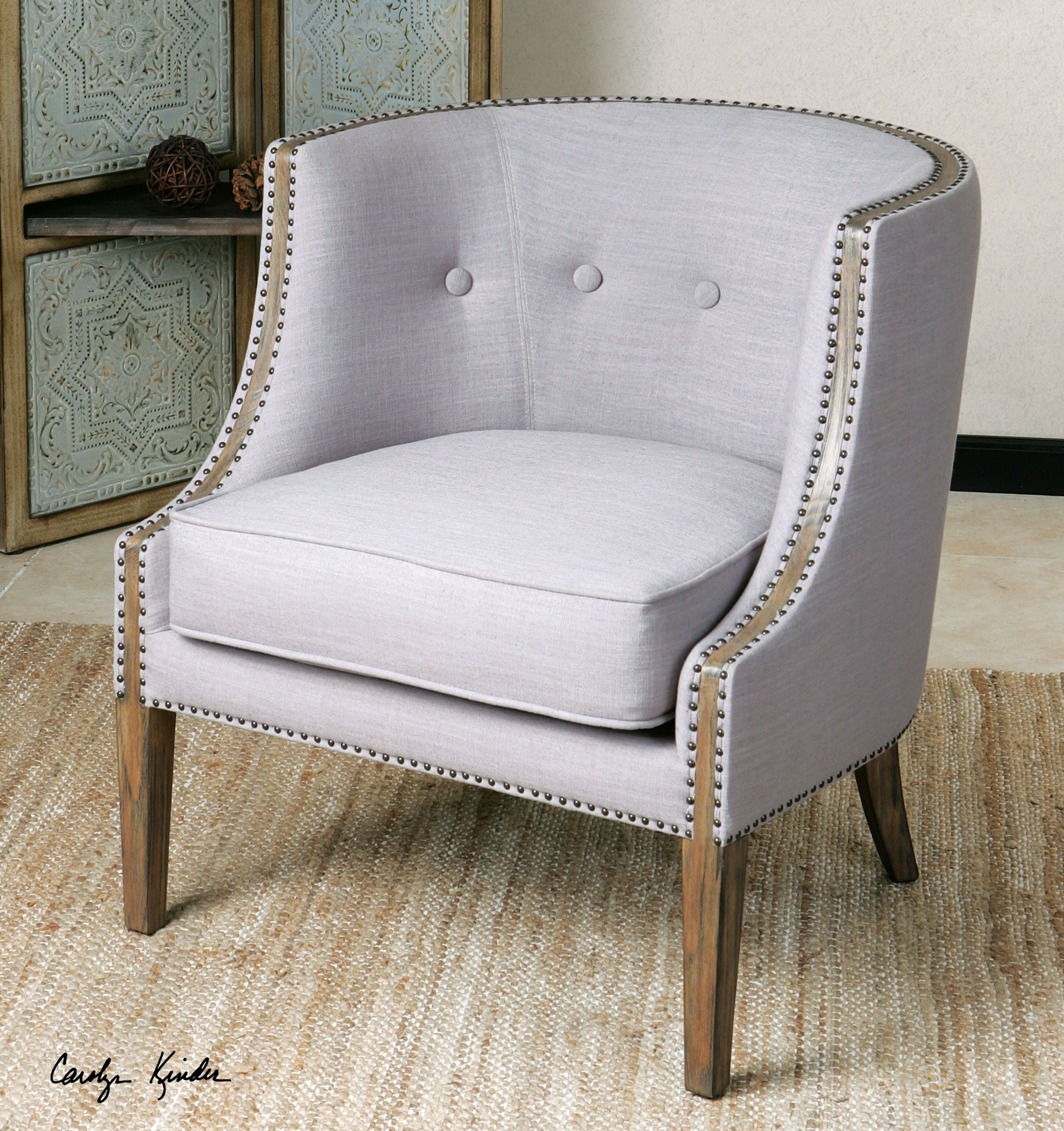 Elegant Barrel Back Accent Chair