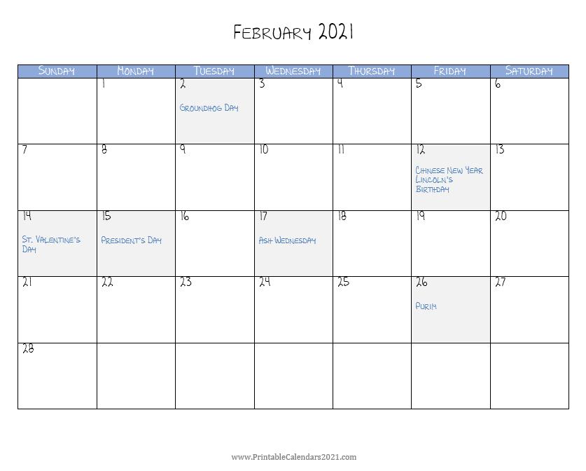 Printable Calendar 2021 February In 2020 Printable Calendar Calendar Calendar Printables