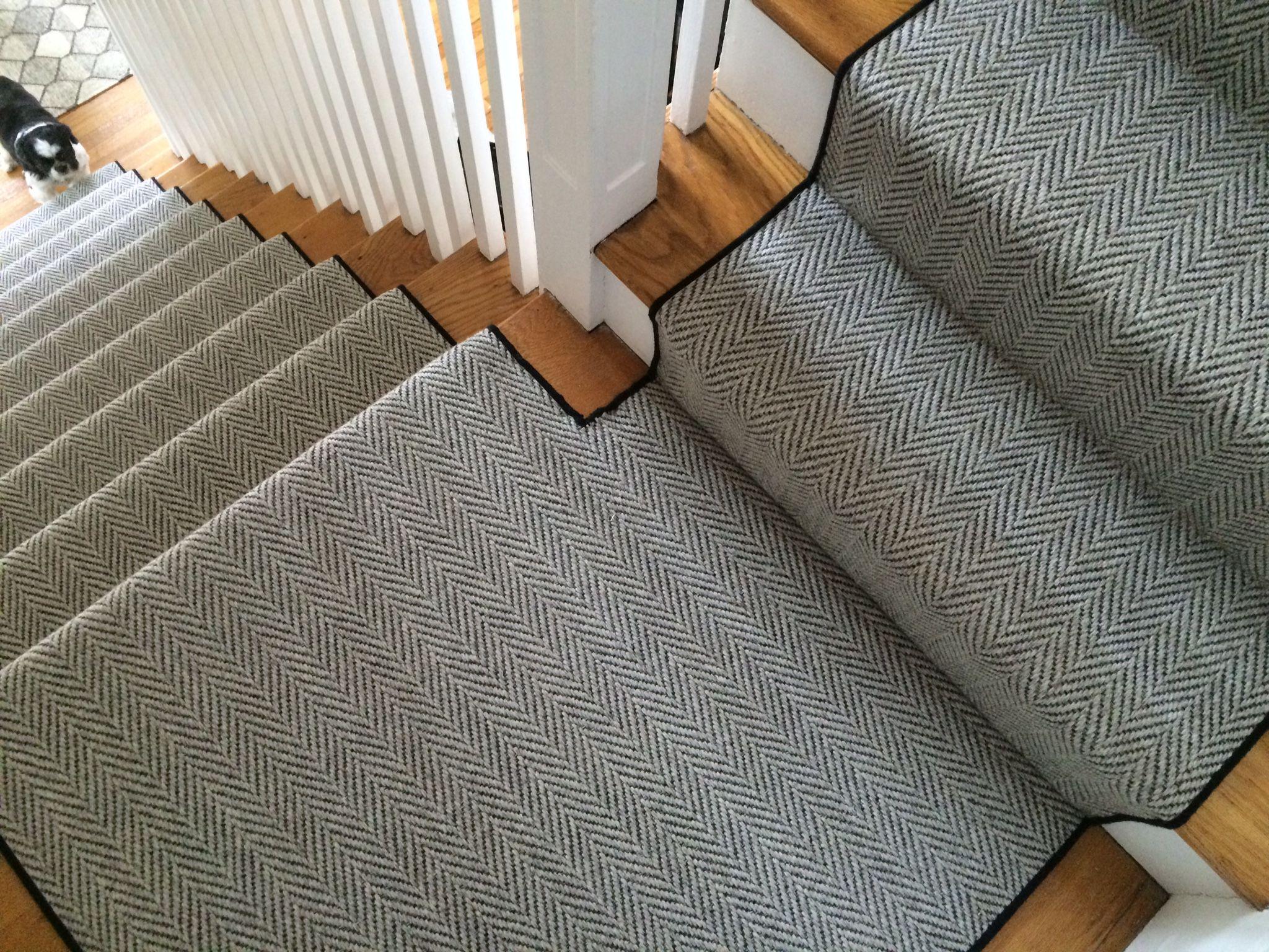 Herringbone Carpet Is One Of My Favorite Looks Because I Love The | Best Carpet For Basement Stairs | Patterned Carpet | Bob Vila | Carpet Runners | Staircase Runner | Hallway