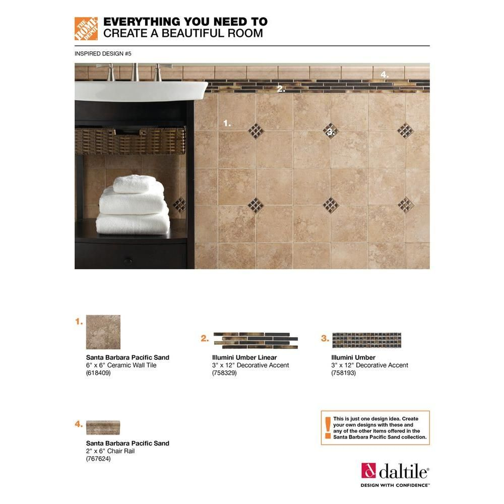 Daltile 2 X 6 Chair Rail Part - 29: Daltile Stone Decor Linear Fantasy 1-5/8 In. X 12 In. Travertine With  Crackled Glass Accent Wall Tile