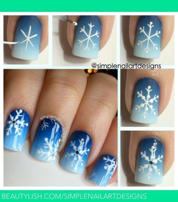 Snowflakes Nails Step By Step Nails Pinterest Snowflake Nails