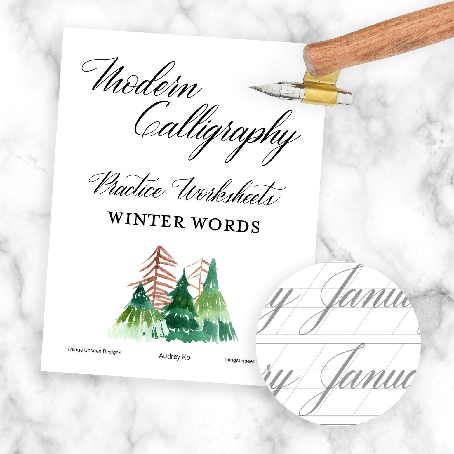 Modern Calligraphy Worksheets Winter Words