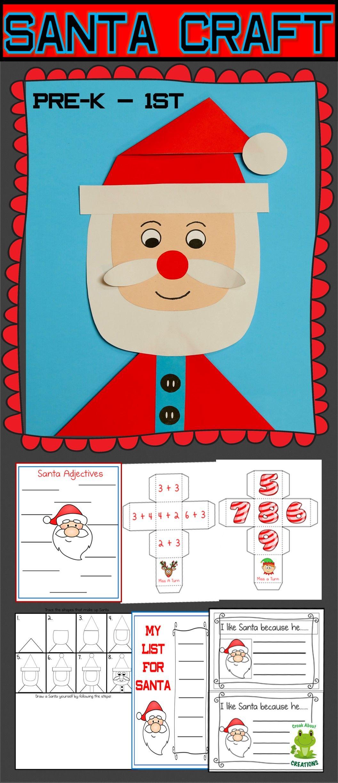 Santa Craft And Worksheets