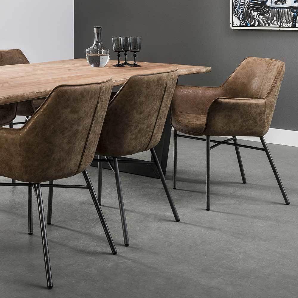 Design Esszimmerstuhl in Braun Armlehnen (2er Set) | Küche und ...