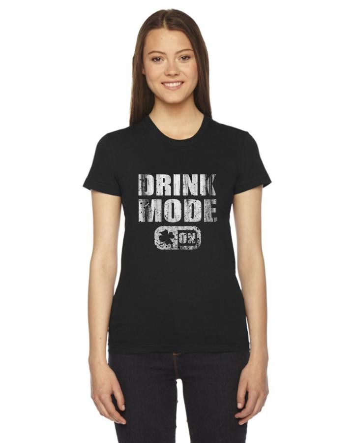drink mode on funny Ladies Fitted T-Shirt