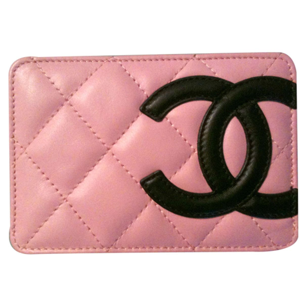 Cambon card holder chanel pink in leather all seasons