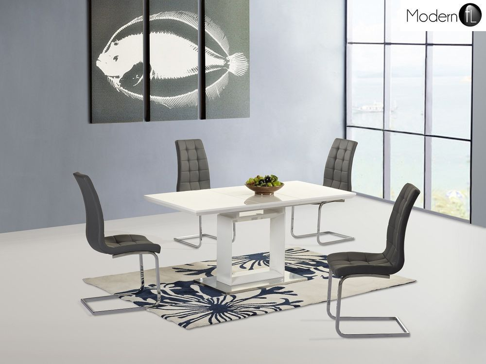 Chrome Dining Room Modern Table U0026 Chair Sets With Flat Pack