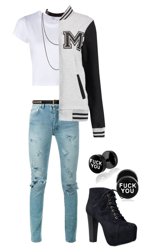 """Unbenannt #368"" by sammur-sarah ❤ liked on Polyvore featuring Yves Saint Laurent, RE/DONE and Speed Limit 98"