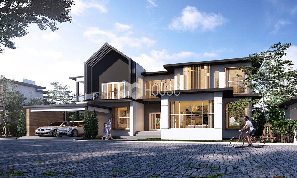 แบบบ าน F 165 ล กษณะบ าน 2 ช น ห องนอน 4 ห อง ห องน ำ 7 ห อง ท จอดรถ 2 ค น พ นท ใช สอย 536 ตารางเมต Small House Design Modern House Plans House Design