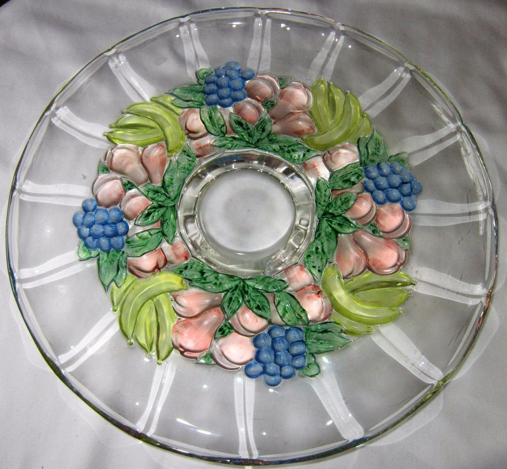 """INDIANA GLASS 13 3/4"""" Footed Cake Plate w/Blue Grapes Garland Pattern (Flash)"""