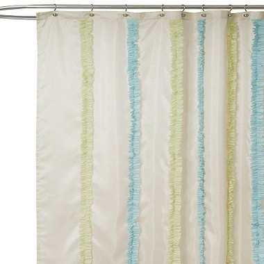 Aria Blue And Green Fabric Shower Curtain Bedbathandbeyond Com