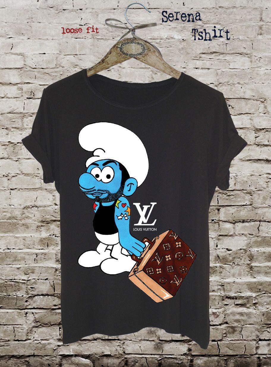 NEW Funny Smurf T-shirt   Louis Vuitton Graphic Tee   Cotton Ladies Tank  Top   Fashion Design Tshirt   Pop Art Eco Print Shirt by Eugoriashop 50a9edc107