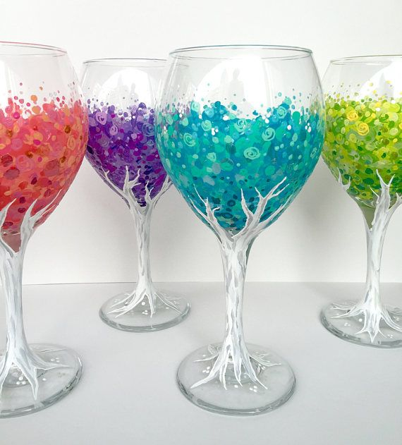 Blossoming tree wineglass set of 4 hand painted 20oz for Hand painted drinking glasses