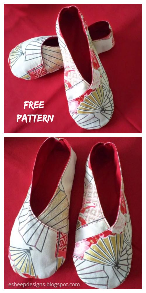DIY Fabric House Kimono Slippers Free Sewing Pattern + Tutorial