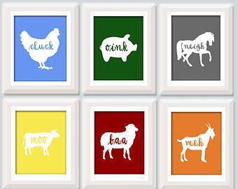 Farm Animal Nursery Art Baby Set Of 4 Decor Kids Wall Boy