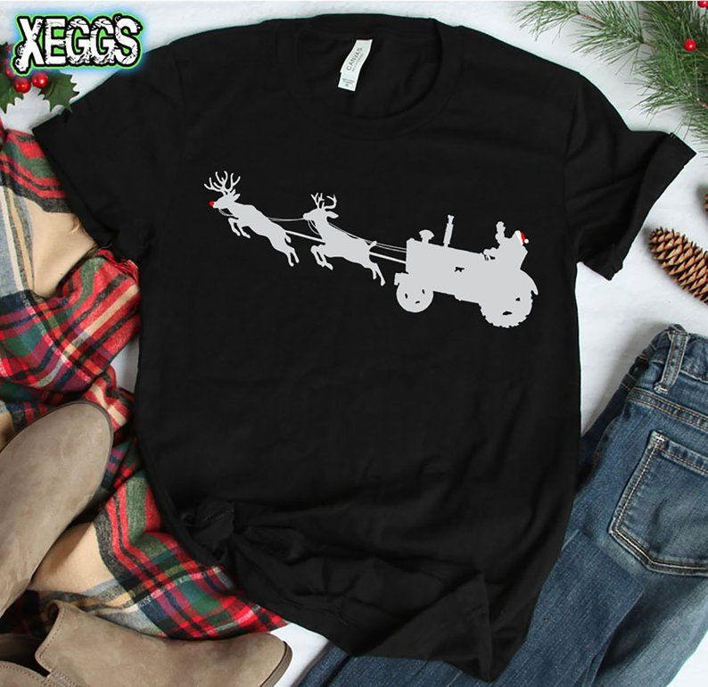 Flying Santa Sleigh Ugly Christmas Sweater Green Youth T-Shirt