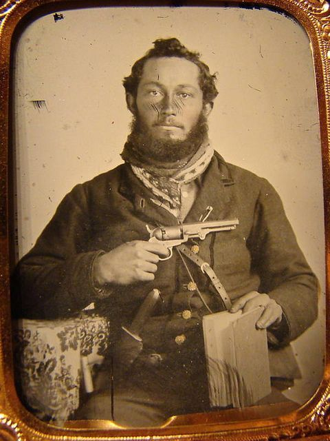 Confederate Soldier With Colt Pistol, Knife, And Bible