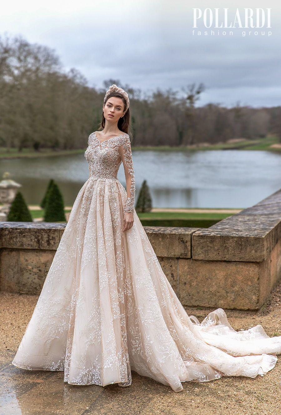 Pollardi Wedding Dresses | Wedding Inspirasi  -- pollardi 2021 royalty bridal long sleeves v neck heavily embellished bodice glamorous princess ivory a  line