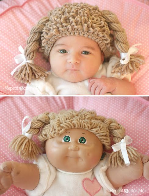 Repeat Crafter Me: Crochet Cabbage Patch Doll Inspired Hat FREE Pattern and tutorial on the Loop stitch.