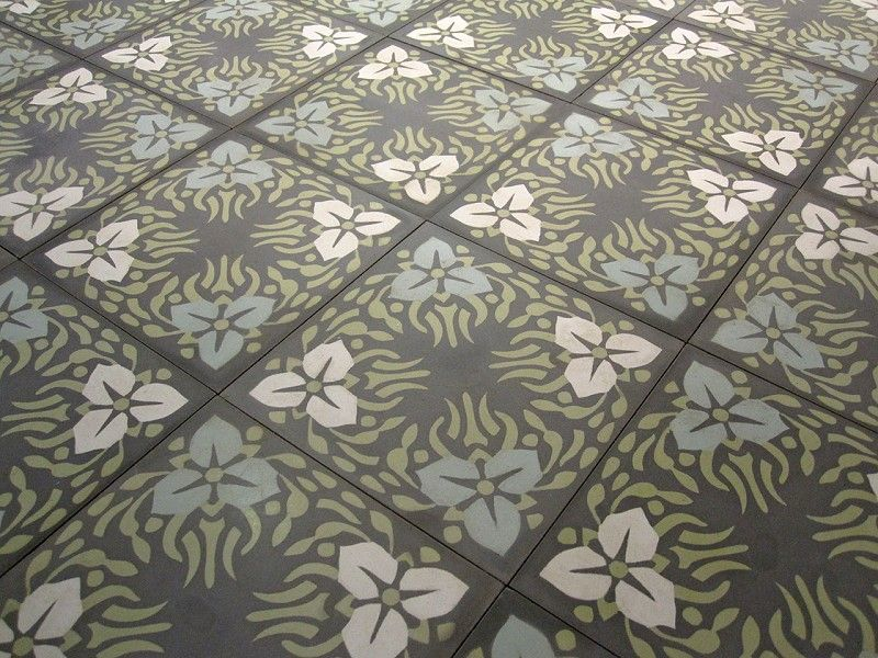 »Cement floor tilewith blossoms of different colours« von Replicata - - Replikate