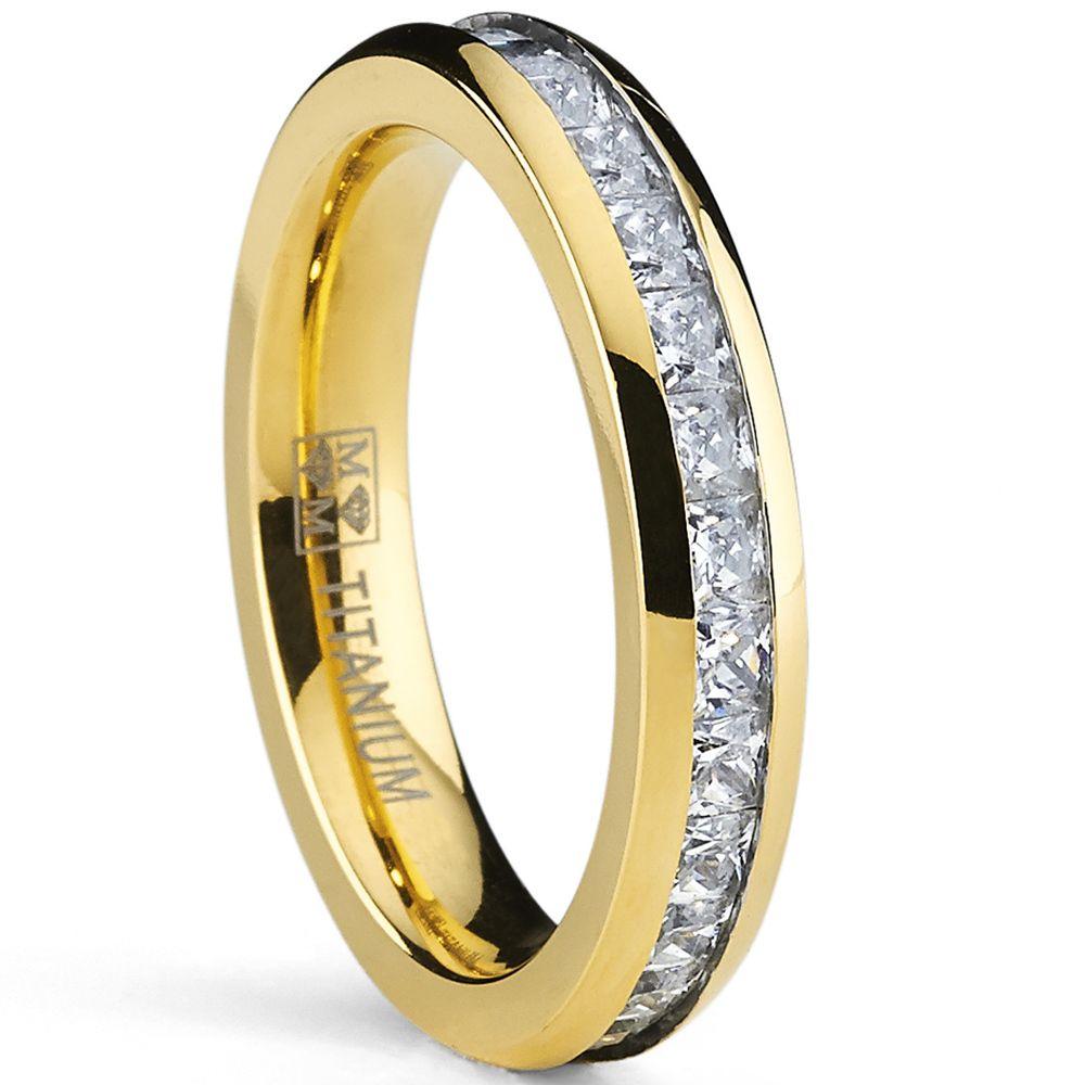 Women Titanium Ring Rose Gold Eternity Cubic Zirconia Wedding Band I9Dgsb7s