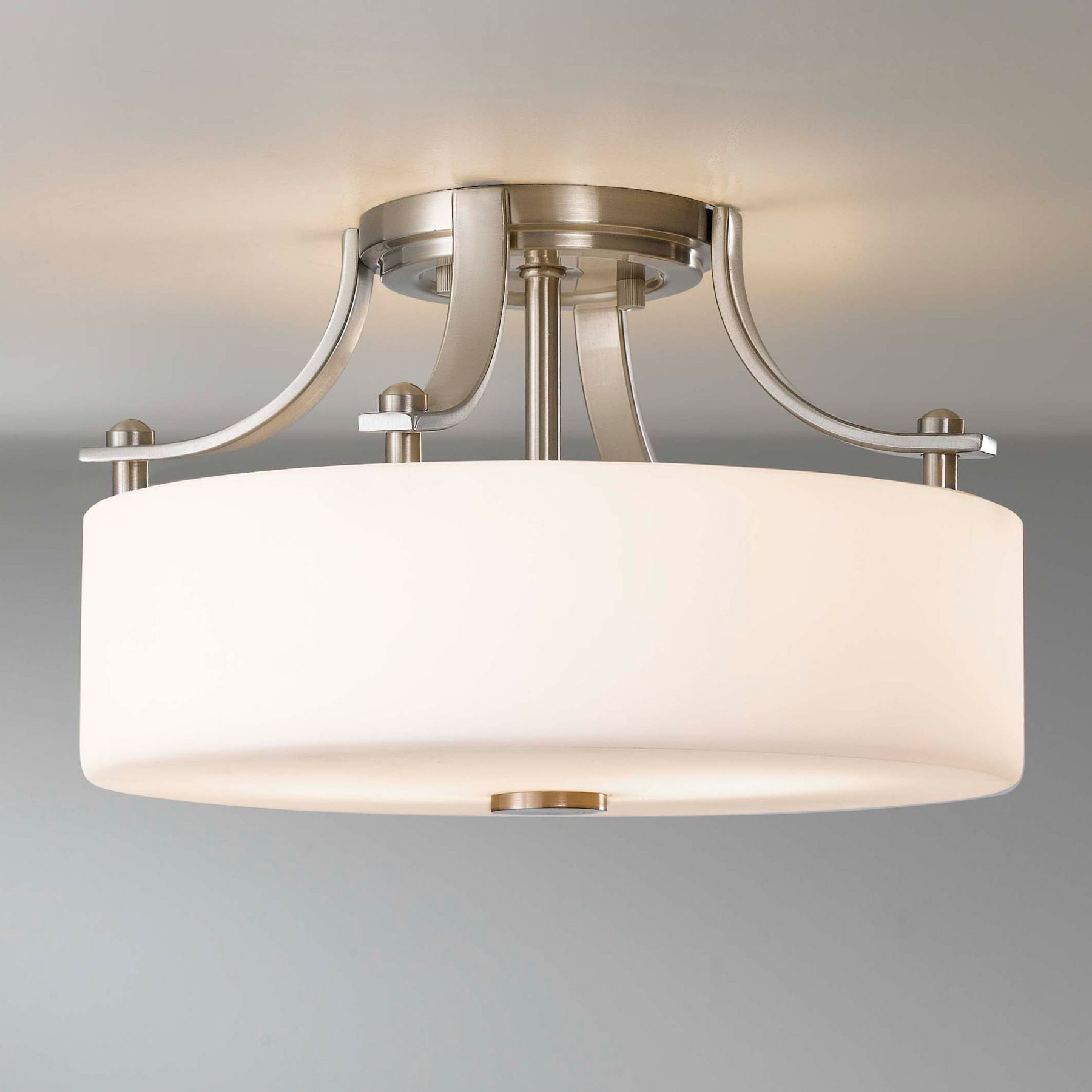 Close To Ceiling Lights: White FlushMount Light Fixture,Lighting