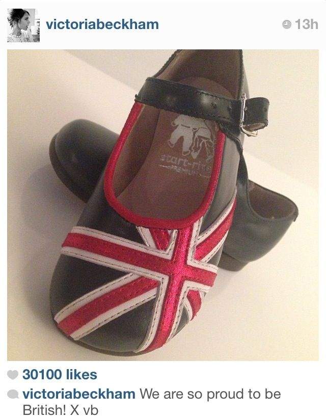 Harper Beckham celebrated her 2nd Birthday in true British style as her mummy Victoria Beckham posted a picture of our gorgeous Union Flag Classic shoes on her twitter and Instagram websites.