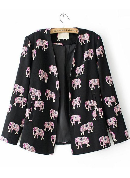Black Long Sleeve Elephants Print Fitted Blazer #elephants !! #love #wild #funky #prints