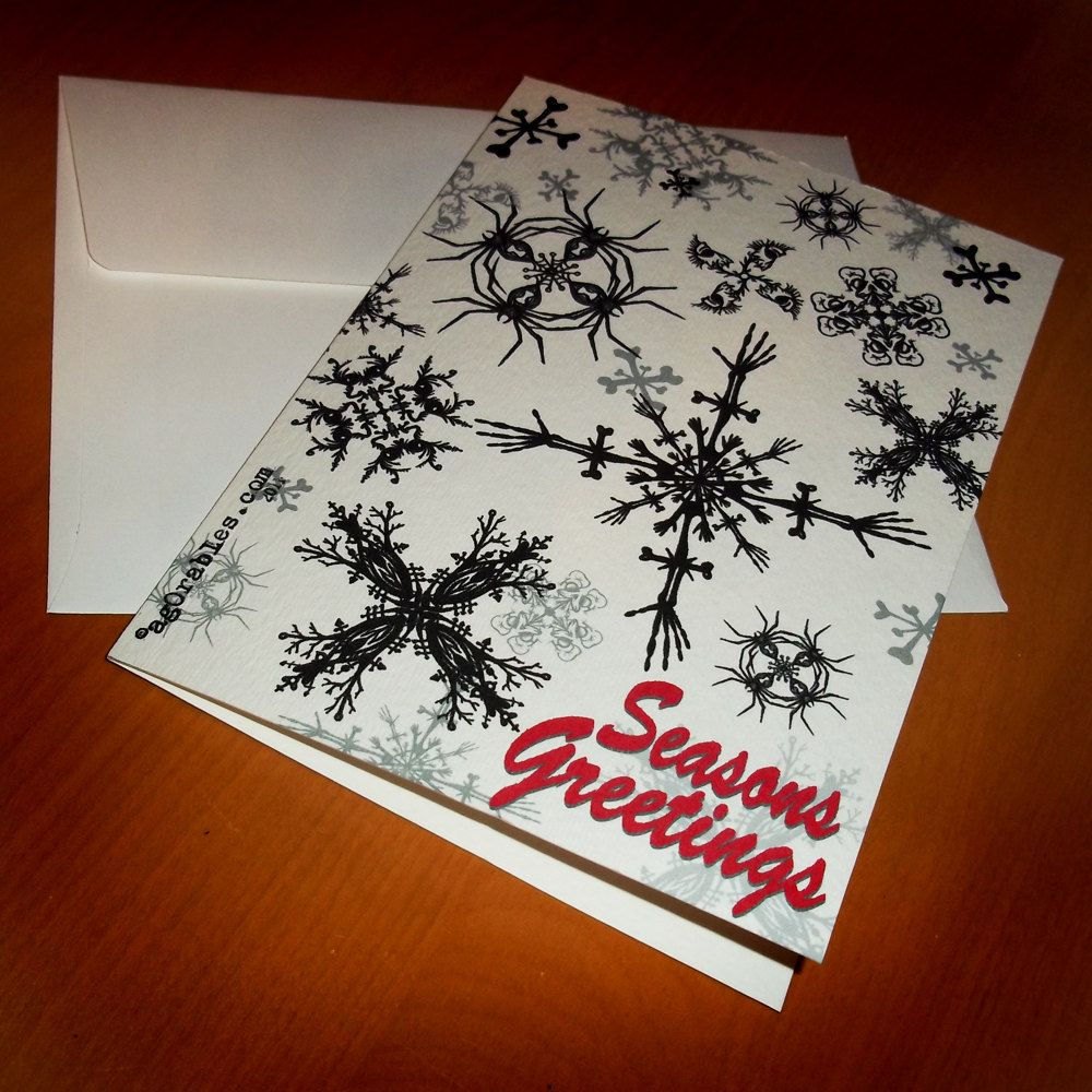 Gothic Christmas Greeting Card Black Widow And Skull Snowflakes 5x7